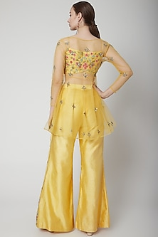Yellow Embroidered Blouse With Pants & Cape by Jade by Ashima