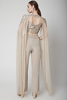 Greyish Brown Embroidered Cape Set by Jade by Ashima
