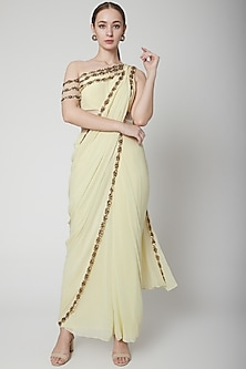 Lemon Yellow Embroidered Saree Set by Jade by Ashima-SHOP BY STYLE