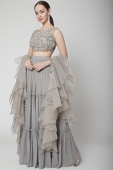 Silver Grey Embroidered Skirt Set by Jade by Ashima