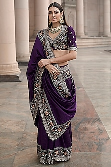 Purple Embroidered Saree Set by Jayanti Reddy