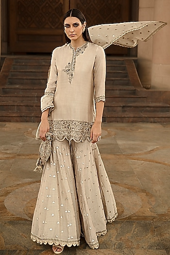 Beige Embroidered Sharara Set by Jayanti Reddy