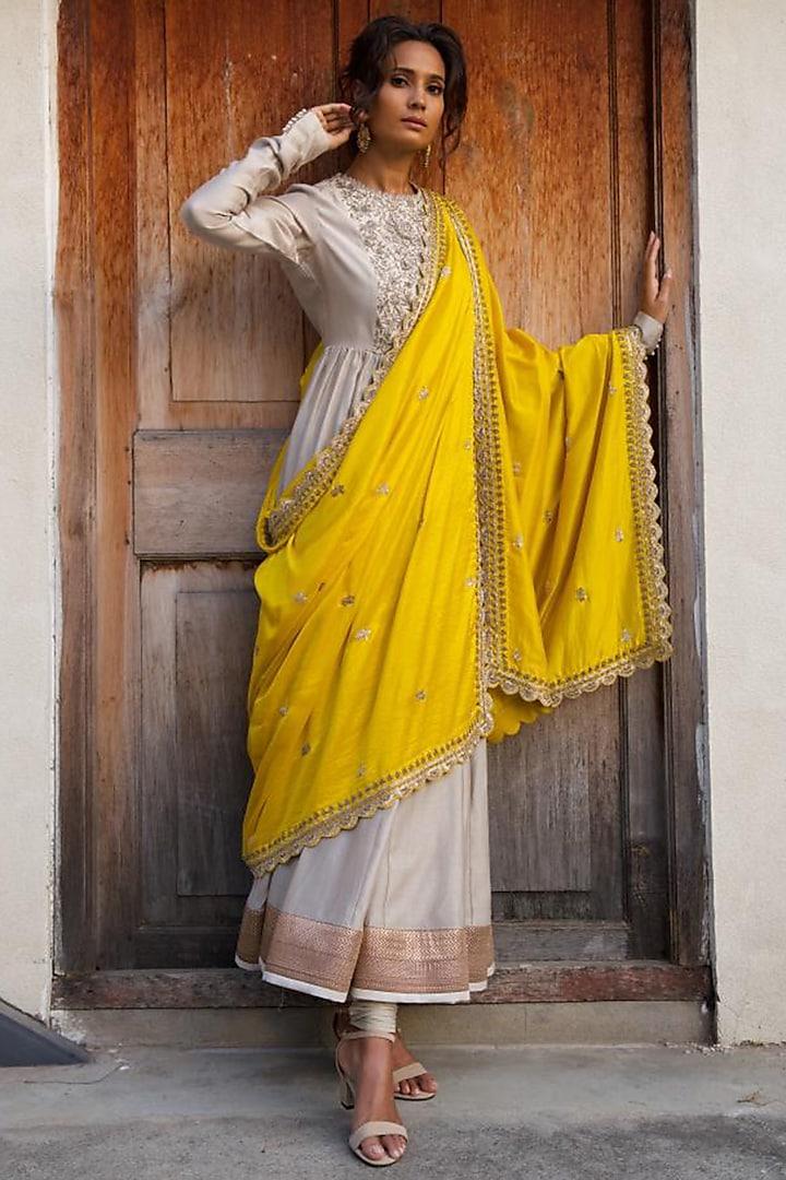 Beige Zardosi Embroidered Anarkali Set by Jayanti Reddy