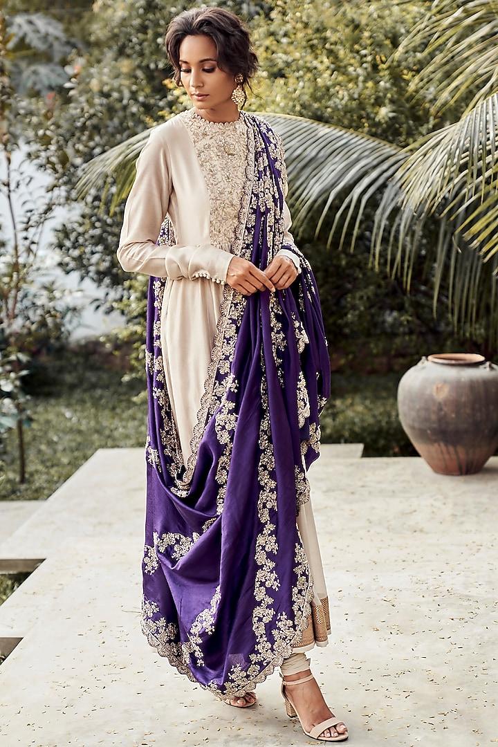 Beige Embroidered Silk Anarkali Set by Jayanti Reddy