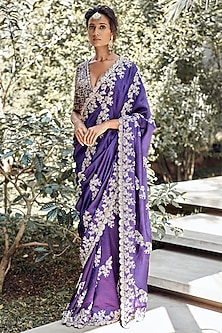 Purple Silk Embroidered Saree Set by Jayanti Reddy