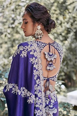 Purple Silk Embroidered Saree Set by Jayanti Reddy