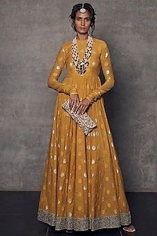 Mustard Embroidered Anarkali Set by Jayanti Reddy
