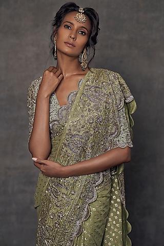 Mint Green Embroidered Banarasi Saree Set by Jayanti Reddy