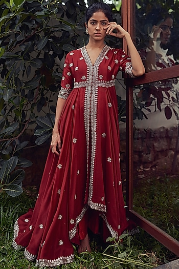 Maroon Embroidered Anarkali Set by Jayanti Reddy