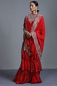 Red Embroidered Sharara Set by Jayanti Reddy