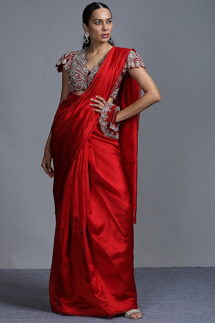 Red Embroidered Saree Set by Jayanti Reddy