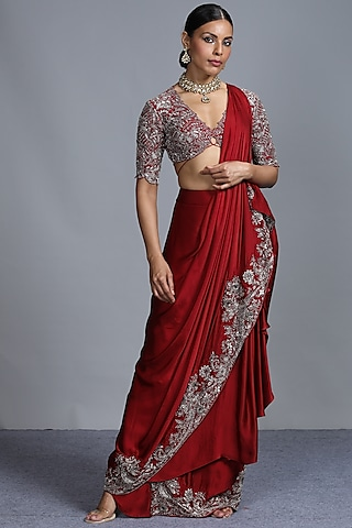 Red Embroidered Pre Pleated Saree Set by Jayanti Reddy
