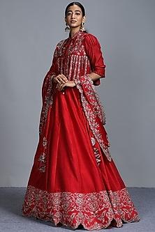 Red Zardosi Embroidered Lehenga Set by Jayanti Reddy-JAYANTI REDDY