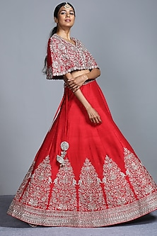 Red Embroidered Lehenga With Cape by Jayanti Reddy