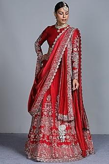 Red Zardosi Embroidered Silk Lehenga Set by Jayanti Reddy