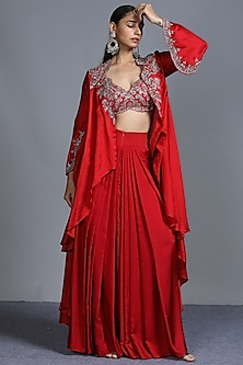 Red Embroidered Cape Set by Jayanti Reddy-JAYANTI REDDY