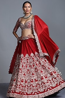 Red Zardosi Embroidered Raw Silk Lehenga Set by Jayanti Reddy