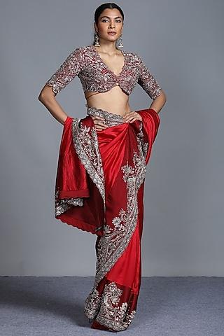 Red Zardosi Embroidered Saree Set by Jayanti Reddy