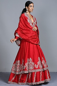 Red Embroidered Anarkali With Dupatta by Jayanti Reddy