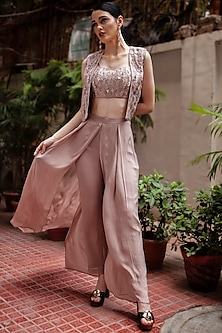 Rose Gold Embroidered Jacket Set by Jade by Ashima