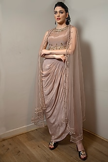Mauve Embroidered Draped Skirt Set by Jade by Ashima