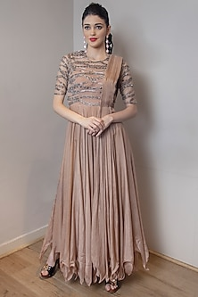 Brownish Pink Embroidered Gown by Jade by Ashima