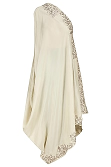 Off White Embroidered Off Shoulder Tunic/Dress with Dhoti Pants by Jayanti Reddy