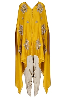 Mustard Embroidered V Neck Cape with Ivory Dhoti Pants by Jayanti Reddy