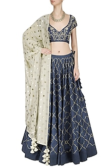 Navy Blue and Beige Pita Work Lehenga Set by Jayanti Reddy