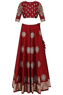 Wine and Beige Sunshine Motifs Lehenga Set by Jayanti Reddy