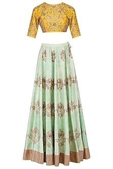 Mint Green and Mustard Floral Embroidered Lehenga Set by Jayanti Reddy