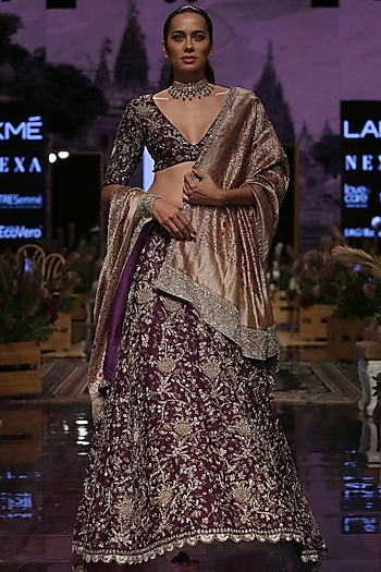 Purple Embroidered Raw Silk Lehenga Set by Jayanti Reddy