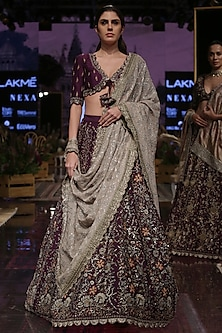 Purple Zardosi Embroidered Lehenga Set by Jayanti Reddy