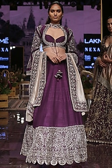 Purple Embroidered Lehenga Set With Paisley Border by Jayanti Reddy