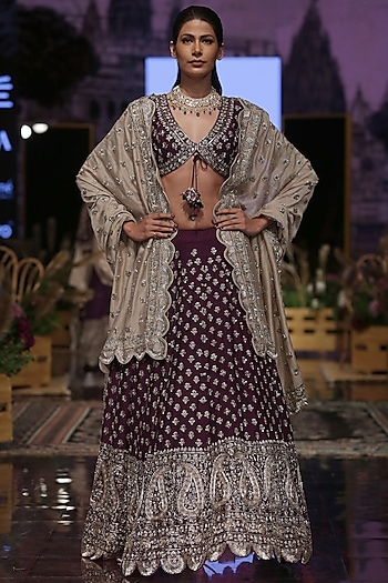 Purple Embroidered Lehenga Set by Jayanti Reddy