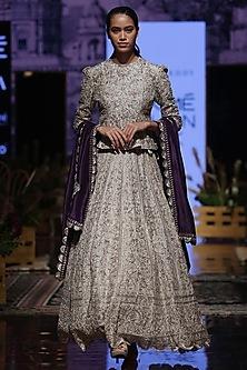 Beige Embroidered Jacket Lehenga Set by Jayanti Reddy