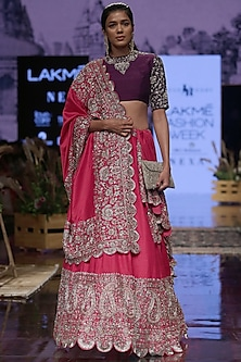 Hot Pink Embroidered Lehenga Set by Jayanti Reddy
