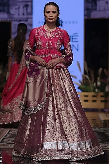 Purple & Rani Pink Embroidered Lehenga set by Jayanti Reddy