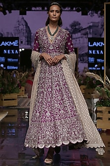Purple Embroidered Silk Anarkali Set by Jayanti Reddy
