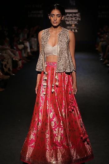 Pink Banarasi Lehenga Skirt and Gold Peplum Blouse Set by Jayanti Reddy