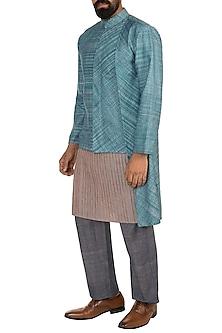 Cobalt Blue Kurta Set With Asymmetrical Shirt by Jewellyn Alvares