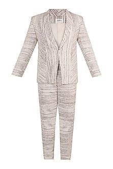 White Shawl Collar Blazer Set by Jewellyn Alvares