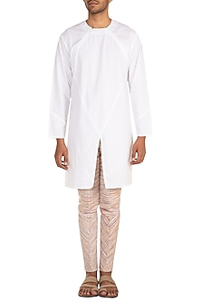 White Khadi Short Kurta by Jewellyn Alvares