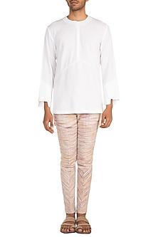 White Paneled Short Kurta by Jewellyn Alvares