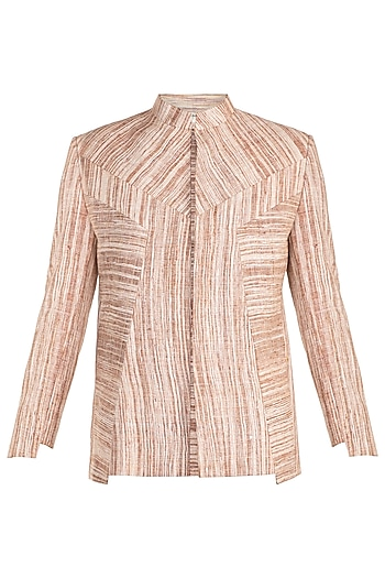 Brown Patterned Bandhgala Jacket by Jewellyn Alvares