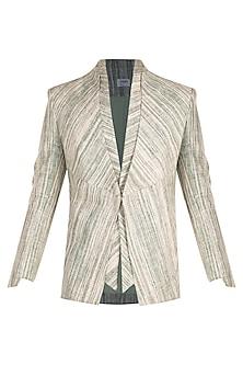 Mint Green Khadi Single Button Blazer by Jewellyn Alvares