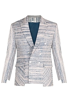 Blue Double Breasted Blazer by Jewellyn Alvares
