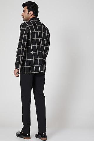Black Cotton Blend Blazer Set by Jenjum Gadi