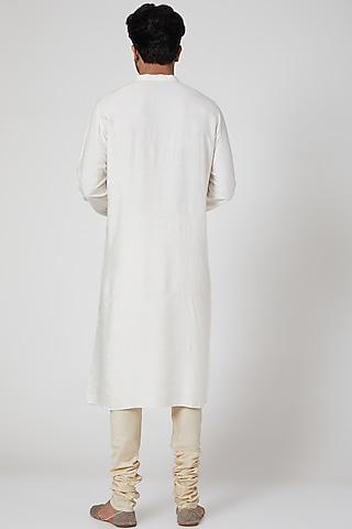 Off White Embroidered Kurta Set by Jenjum Gadi