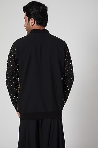 Black Embroidered Bomber Jacket Set by Jenjum Gadi